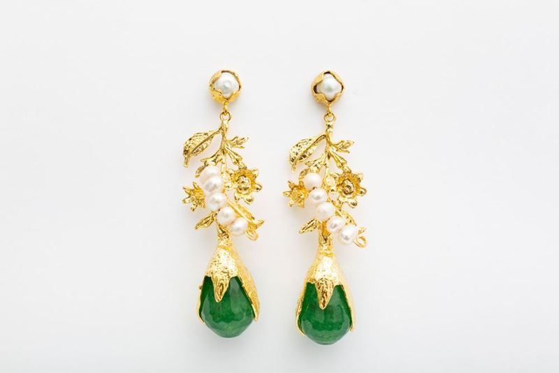 Picture of NEW LEA EARRINGS PEARLS & GREEN