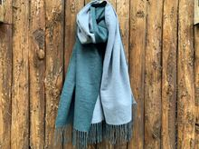 Picture of DOUBLE SIDED CASHMERE SCARF - LIGHT GREEN/GREY