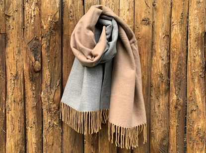 Picture of DOUBLE SIDED CASHMERE SCARF - BEIGE/GREY